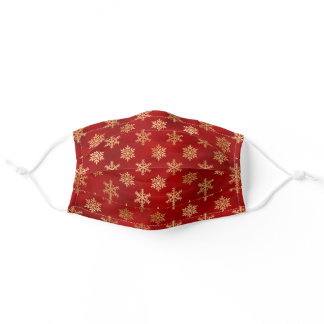 Elegant Gold Snowflakes on Crimson Red Adult Cloth Face Mask