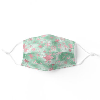 Elegant Green & Pink Christmas Snowflake Pattern Adult Cloth Face Mask