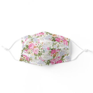 Elegant green pink white blue paisley floral adult cloth face mask