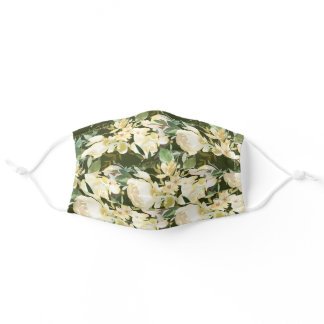 Elegant Ivory Cream Watercolor Floral Hunter Green Adult Cloth Face Mask