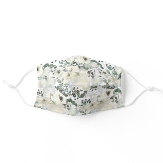Elegant Ivory Cream White Floral Green Leaves Adult Cloth Face Mask