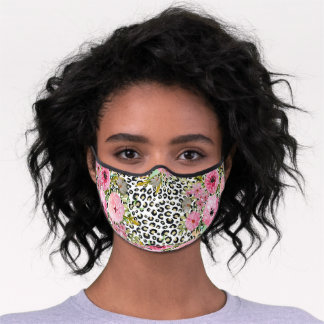 Elegant leopard print and floral design premium face mask