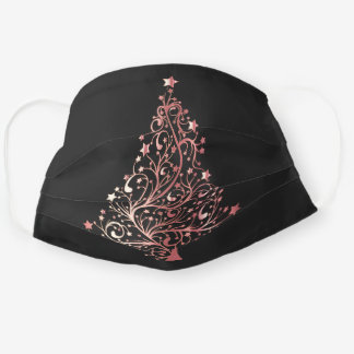 Elegant modern rose gold Christmas tree Cloth Face Mask