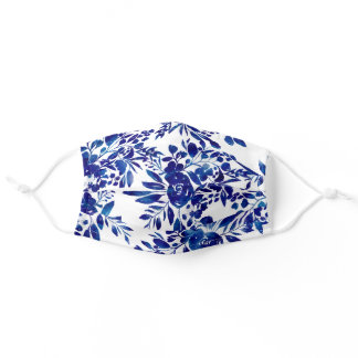 Elegant  navy blue watercolor floral white pattern adult cloth face mask