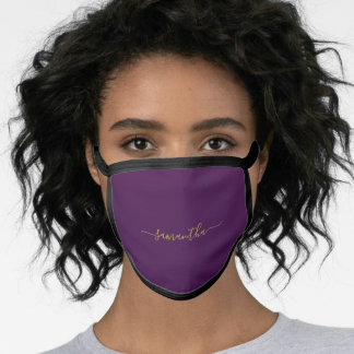 Elegant Plum Purple Shade Personalized Name Face Mask