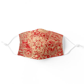 Elegant Red and Gold Mandala Pattern Christmas Adult Cloth Face Mask