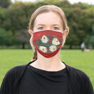 Elegant Red White Roses Modern Floral Art Painting Adult Cloth Face Mask