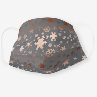 Elegant rose gold Christmas snowflake pattern Cloth Face Mask