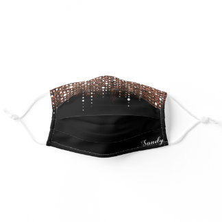 Elegant Rose Gold Glitter Drips Personalized Name Adult Cloth Face Mask