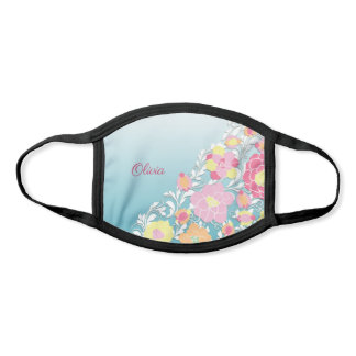 Elegant Sculpted Style Pastel Floral Personalized Face Mask
