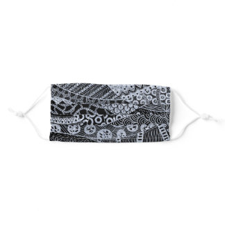 Elegant Silver Geometric Abstract Tribal Pattern Adult Cloth Face Mask