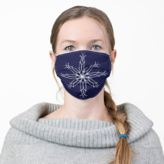 Elegant Sophisticated Christmas Snowflake - Blue Adult Cloth Face Mask