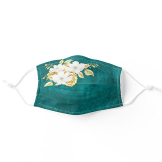 Elegant Teal White Gold Floral Adult Face Mask