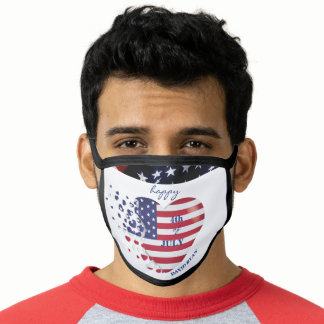 Elegant USA Flag HeartS Happy 4th Of July Face Mask