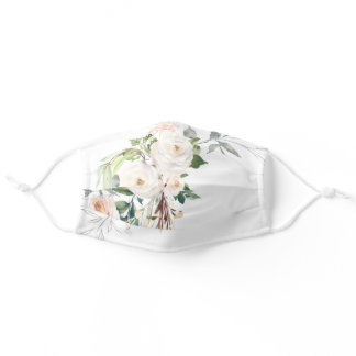 Elegant White Floral Watercolor Pretty Womens Adult Cloth Face Mask