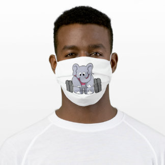 Elephant at Bodybuilding with Barbell Adult Cloth Face Mask