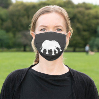 Elephant  silhouette adult cloth face mask