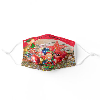 Elves Got Your Lights In A Tangle Merry Christmas Adult Cloth Face Mask