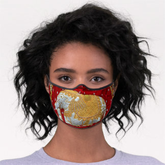 Embellished Indian Elephant Red and Gold Premium Face Mask
