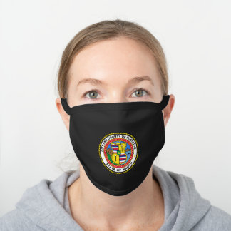 Emblem of city of Honolulu, Hawaii Black Cotton Face Mask