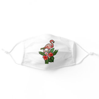 Embroidered Flamingos Red pink flower Green Leaves Adult Cloth Face Mask