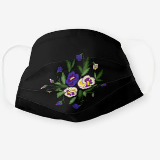 Embroidered Pansies Purple Blue White Bouquet Cloth Face Mask