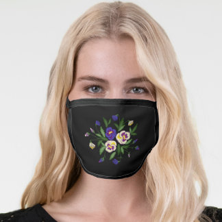 Embroidered Pansies Purple Blue White Bouquet Face Mask