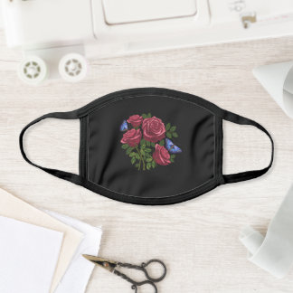 Embroidered Red Roses Green Leaves Blue Butterfly Face Mask