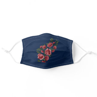 Embroidered Red Roses Green Leaves Floral Blue Adult Cloth Face Mask
