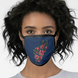 Embroidered Red Roses Green Leaves Floral Blue Face Mask