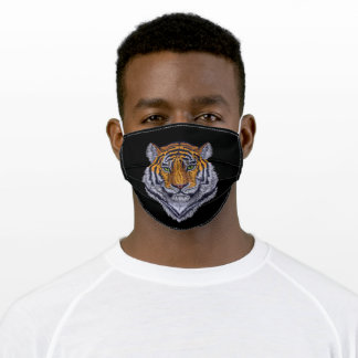 Embroidered Tiger Head Black Adult Cloth Face Mask