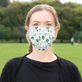 Emerald Flowers seamless pattern Adult Cloth Face Mask
