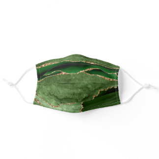 Emerald Green and Gold Agate Pattern Adult Cloth Face Mask