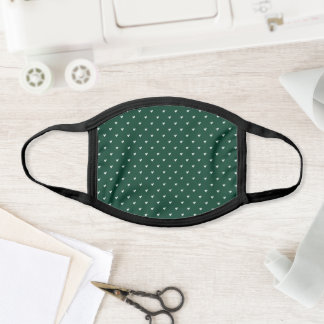 Emerald Green and White Solid Heart Pattern Face Mask