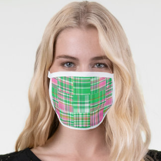 Emerald Green Hot Pink Preppy Patchwork Madras Face Mask