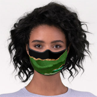 Emerald Green Marbled Agate Contemporary Stone Premium Face Mask
