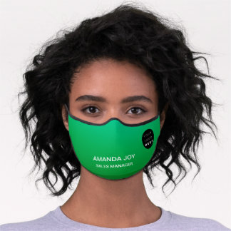 Emerald Green Ombre Custom Logo Name Shop Premium Face Mask