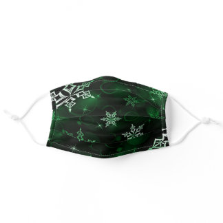 Emerald Green Snowflake Motif Adult Cloth Face Mask