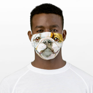 English bulldog face watercolor realistic art adult cloth face mask