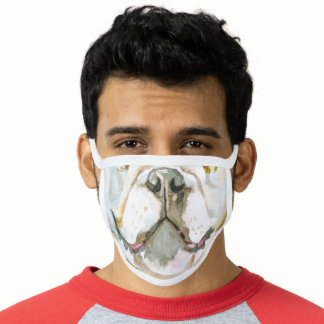 English bulldog funny animal mouth watercolor face mask
