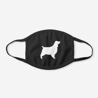 English Springer Spaniel Dog Breed Silhouette Black Cotton Face Mask