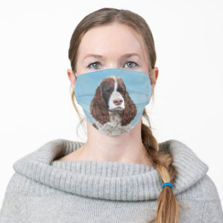 English Springer Spaniel Painting Original Dog Art Adult Cloth Face Mask
