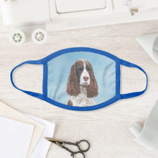 English Springer Spaniel Painting Original Dog Art Face Mask