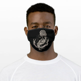 Engraving hand drawn adult cloth face mask