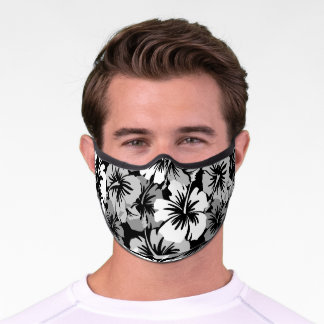 Epic Hibiscus Hawaiian Floral - Black and Gray Premium Face Mask