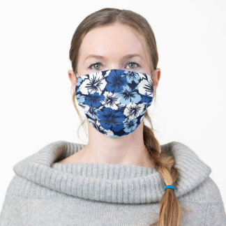 Epic Hibiscus Large Hawaiian Floral - Navy Blue Cloth Face Mask