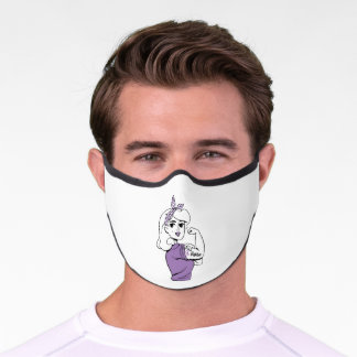 Epilepsy Awareness Rosie Riveter Fighter Ribbon Premium Face Mask