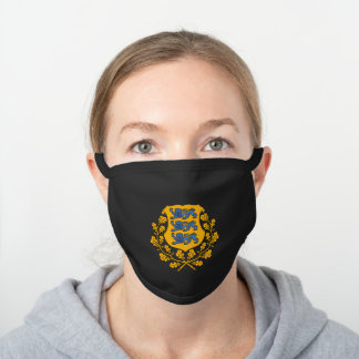 Estonian coat of arms black cotton face mask