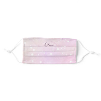 Ethereal Pink Galaxy Style with Your Name Adult Cloth Face Mask