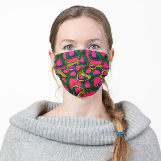 Ethnic African Ankara Style Print Pink Yellow Adult Cloth Face Mask